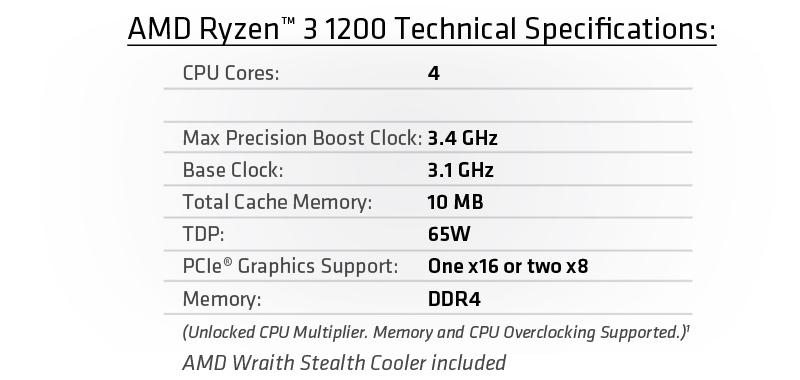 AMD Ryzen<sup>TM</sup> 3 1200 (Quad-Core, 3.4 GHz Boost) Desktop Processor with Wraith Stealth Cooler