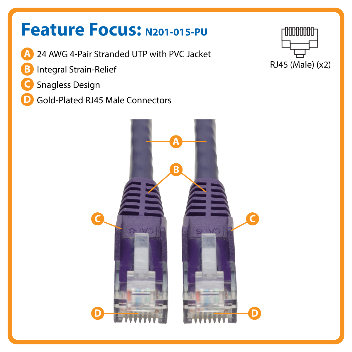 Provantage Tripp Lite N201 015 Pu 15ft Cat6 Patch Cable Purple Cat5e Blue Ethernet Snagless Molded Boot 15 Foot Part Product Image