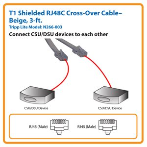 3 ft. T1 Shielded RJ48C Cross-Over Cable, RJ45 M to RJ45 M (Beige)