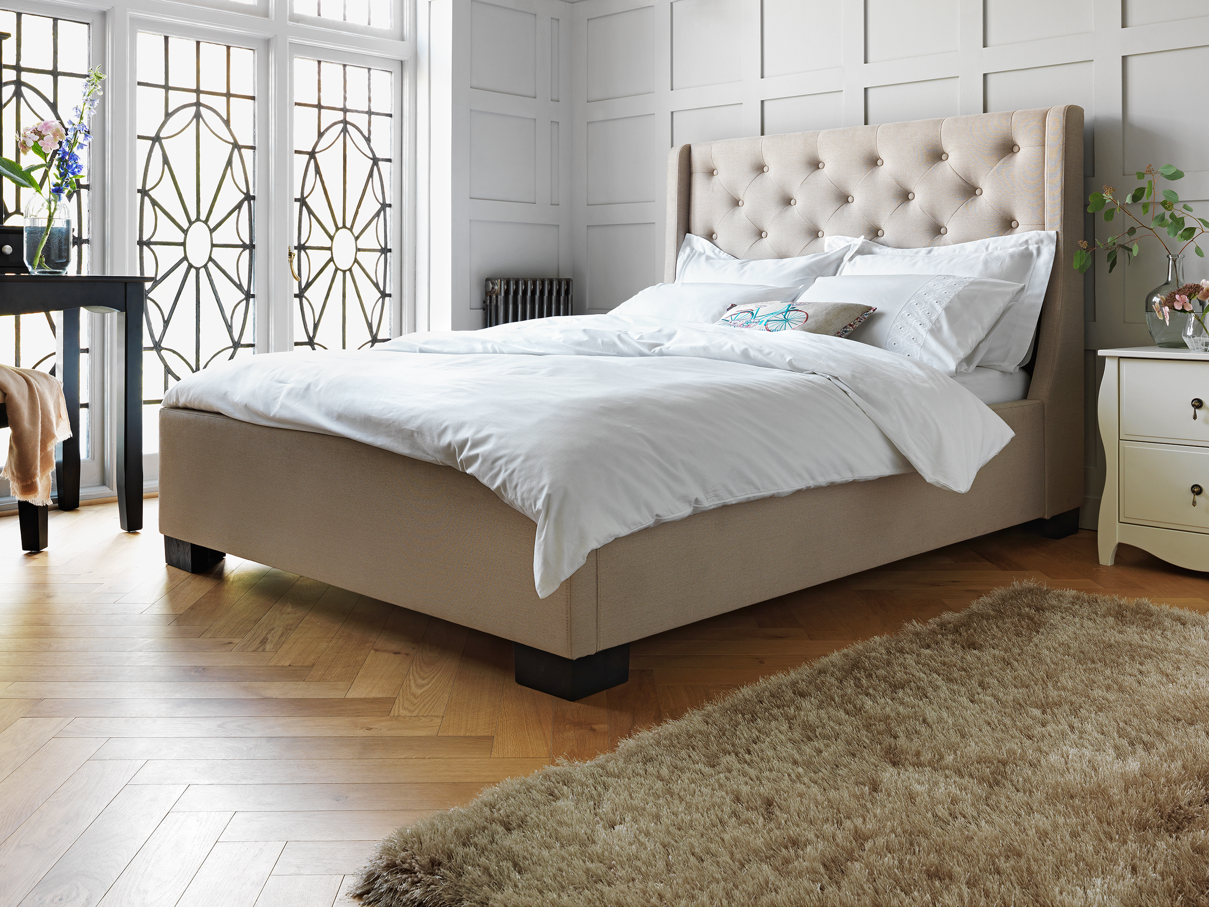 Buy Argos Home Levena Double Quilted Bed Frame - Natural | Bed ...