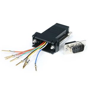 Convert a DB9 female connector into an RJ45 female connector
