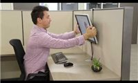 slide {0} of {1},zoom in, Maximize the available work space on your employee's desk, by mounting the monitor on the cubicle wall
