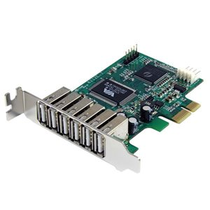 Add six external and one internal high speed USB 2.0 ports to any PCIe compatible PC