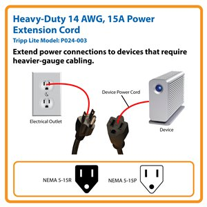 Heavy-Duty 3-ft. Cord Extends Existing Power Connections for Devices Requiring Higher-Rated, Heavy-Gauge Cable