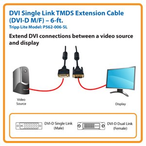 Extend High-Resolution Single-Link DVI Connections by 6-ft.