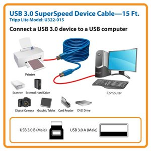 Connect a 3.0 USB Device to a USB Computer with SuperSpeed Transfer Rates-15 ft.