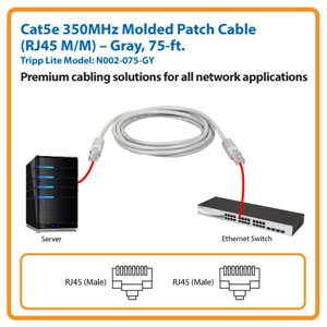 100-ft. Cat5e 350MHz Molded Patch Cable (Black)