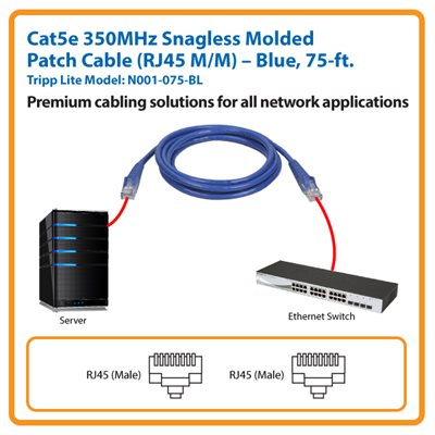 75-ft. Cat5e 350MHz Snagless Molded Patch Cable (Blue)