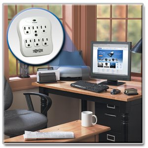 6-Outlet, Direct Plug-In Surge Protector Expands the Number of Available Wall Outlets
