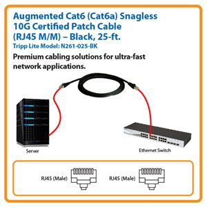 25-ft. Augmented Cat6 (Cat6a) Snagless 10G Certified Patch Cable (Black)