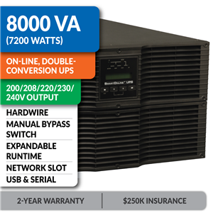SU8000RT3UHW SmartOnline® Hot-Swappable Double-Conversion Rack/Tower Sine Wave UPS with Expandable Runtime, Bypass Switch, Network Slot and LCD/LED Control Panel