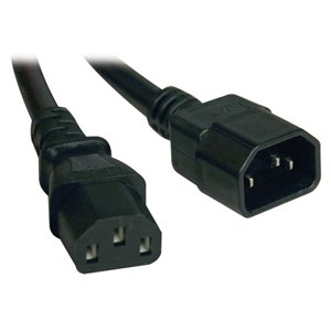 1-ft., 18 AWG, 10A Standard Computer Power Cord (C13 to C14)