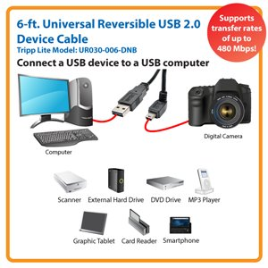 Down-Angled Universal Reversible USB 2.0 6 ft. Hi-Speed Cable
