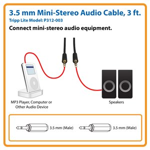3 ft. 3.5 mm Mini-Stereo Audio Cable (M/M)
