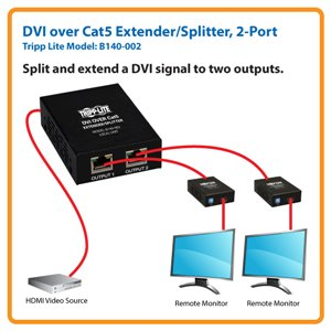 DVI over Cat5/6 Transmitter Extends and Splits a Single Video Signal to Two Monitors