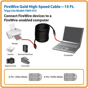 Connect FireWire Devices to a FireWire-Enabled Computer- 15 ft.