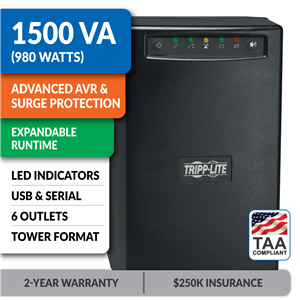 SMART1500XLTAA SmartPro® Line-Interactive Tower UPS with Expandable Runtime