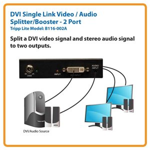 2-Port DVI Single Link Video / Audio Splitter / Booster for Up to 8 Displays