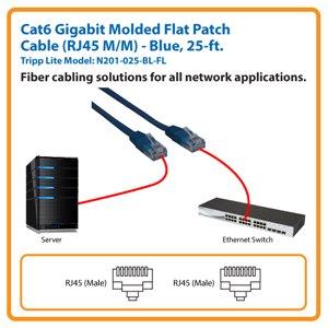 25-ft. Cat6 Gigabit Molded Flat Patch Cable (Blue)