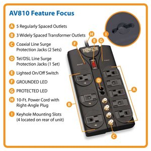 Reliable 8-Outlet Surge Protection For A/V Components and All Electronics