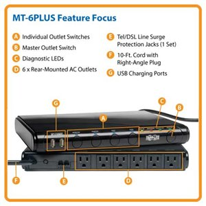 Under-Monitor Surge Protection with USB Charging Ports