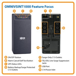 1000VA/500W Power Protection for Home or Office PCs and Peripherals in 230V Regions