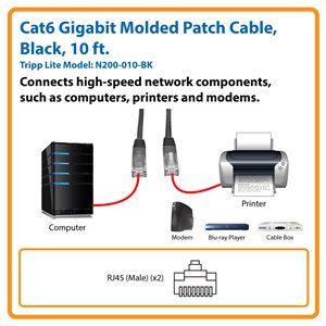 Cat6 Gigabit Molded Patch Cable (RJ45 M/M), Black, 10 ft.