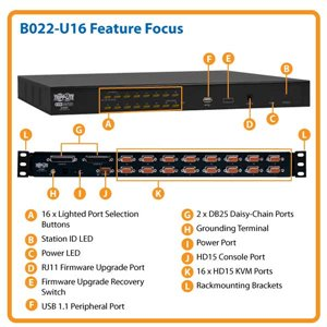 16-Port KVM Switch 1U Rackmount Ideal for Controlling Multiple Computers