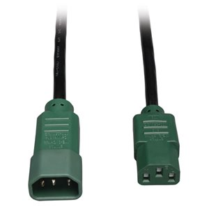 6-ft., Heavy-Duty 14 AWG, 15A Power Cord (C13 to C14) with Green Connectors