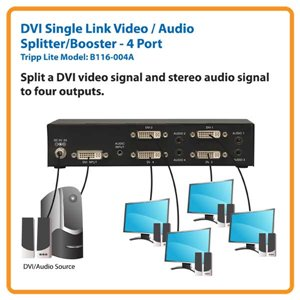 Transmit a DVI & Audio Signal to 4 Sets of Monitors/Speakers