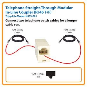 Telephone Straight-Through Modular In-Line Coupler (RJ45 F/F)