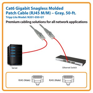 50-ft. Cat6 Gigabit Snagless Molded Patch Cable (Gray)
