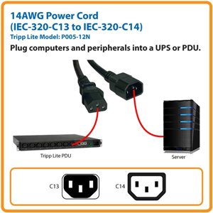 1 ft C14 Male to C13 Female 14AWG Power Cord with Lifetime Warranty