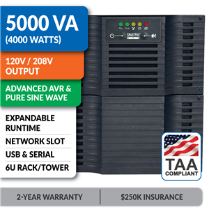 SM5000RT3UTAA SmartPro® Line-Interactive Rack/Tower Sine Wave UPS with Expandable Runtime and Network Slot