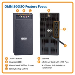 Line-Interactive, 500VA/300W Power Protection with Built-In Isolation Transformer