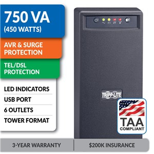 SMART750USBTAA SmartPro® 120V 750VA 450W Line-Interactive UPS, AVR, Tower, USB, Surge-Only Outlets, TAA-Compliant