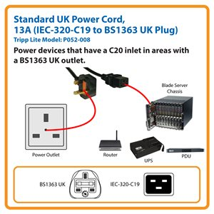 2.4 m (8 ft.) Standard UK Power Cord, 13A Fuse (IEC-320-C19 to BS1363 UK Plug)