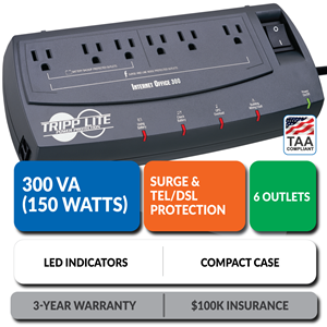 INTERNETOFFICE300 Ultra-Compact UPS with Tel/DSL Protection