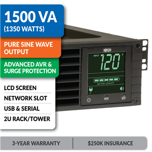 SMART1500RM2U SmartPro® Line-Interactive Rack/Tower Sine Wave UPS with Network Slot and LCD