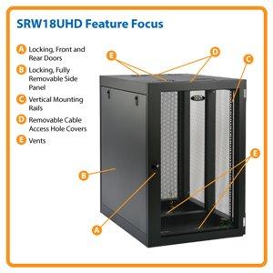 18U Heavy-Duty, Side-Mounting Wall Mount Rack Enclosure Server Cabinet