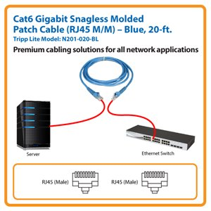 20-ft. Cat6 Gigabit Snagless Molded Patch Cable (Blue)