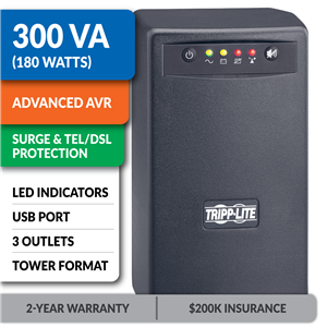 OMNISMART300PNP OmniSmart® 120V 300VA 180W Line-Interactive UPS, Tower, USB Port