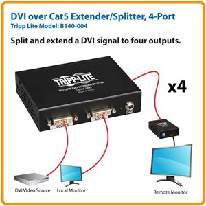 Split and Extend a Single-link DVI-D Signal to 4 Monitors Up to 200 ft. Away