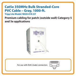 1000-ft. Cat5e 350MHz Bulk Stranded-Core PVC Cable (Gray)