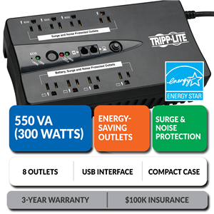 ECO550UPS Ultra-Compact Eco-Friendly Standby UPS with Energy-Saving Outlets