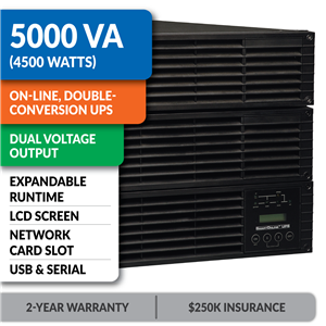 SU5000RT4UTF SmartOnline® Double-Conversion Rack/Tower Sine Wave UPS with Expandable Runtime, Network Slot and LCD/LED Control Panel
