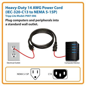6 ft C14 Male to C13 Female 14AWG Power Cord with Lifetime Warranty