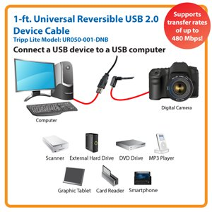 Down-Angled Universal Reversible USB 2.0 1 ft. Hi-Speed Cable