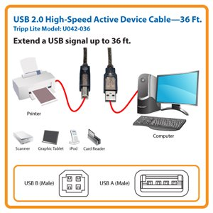 Extend a USB 2.0 Signal Up to 36 ft. with this Hi-Speed Active Device Cable