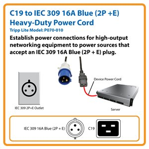 10 ft., Heavy-Duty Computer Power Cord for High-Output Networking Equipment [C19 to IEC 309 16A Blue (2P + E)]